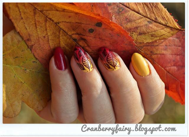 jesienna przyroda na paznokciach