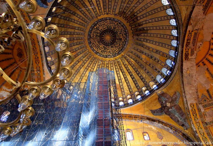 looking up at the ceiling of Hagia Sophia - Istanbul, Turkey