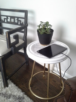 gold brass metal white wicker bamboo rattan side end table, charging station jade plant