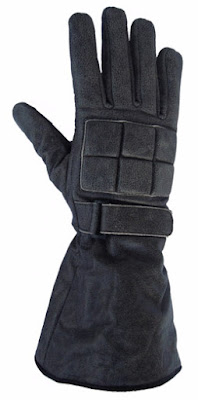 Granite Gauntlets: Grey Leather Gauntlet Gloves from AbbyShot