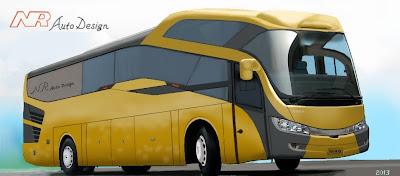 Design bus 3D Orca front perspektif