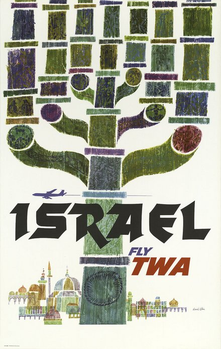 free printable, printable, classic posters, free download, graphic design, retro prints, travel, travel posters, vintage, vintage posters, Israel Fly TWA - Vintage Travel Poster