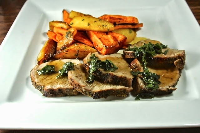 Sage rubbed pork tenderloin with maple glazed sweet potatoes