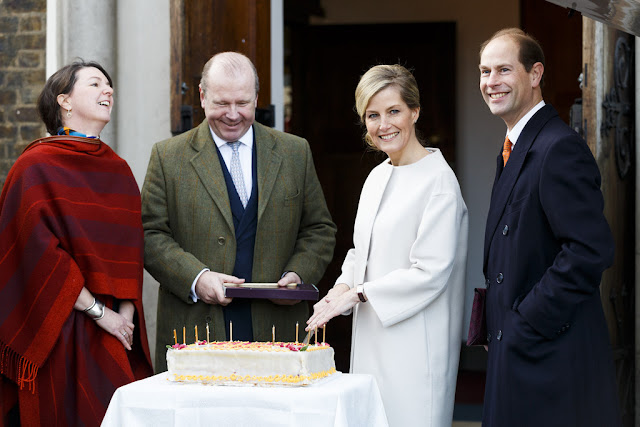 ophie, Countess of Wessex accompanied by Prince Edward, Earl of Wessex visits the Tomorrow's People Social Enterprises at St Anselm's Church, Kennington on her 50th birthda