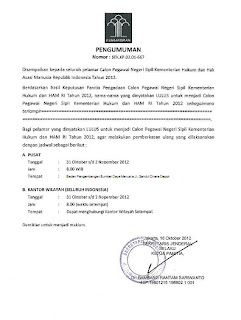 Pengumuman Hasil Kelulusan CPNS Kemenkumham 2012