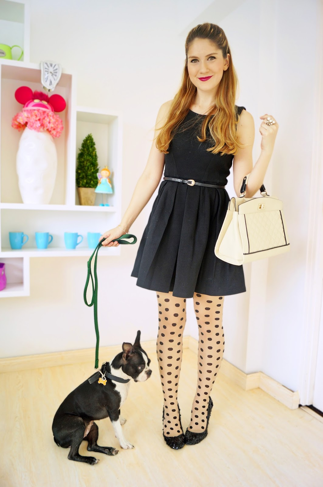 Transform a simple black dress by pairing it with fun tights!
