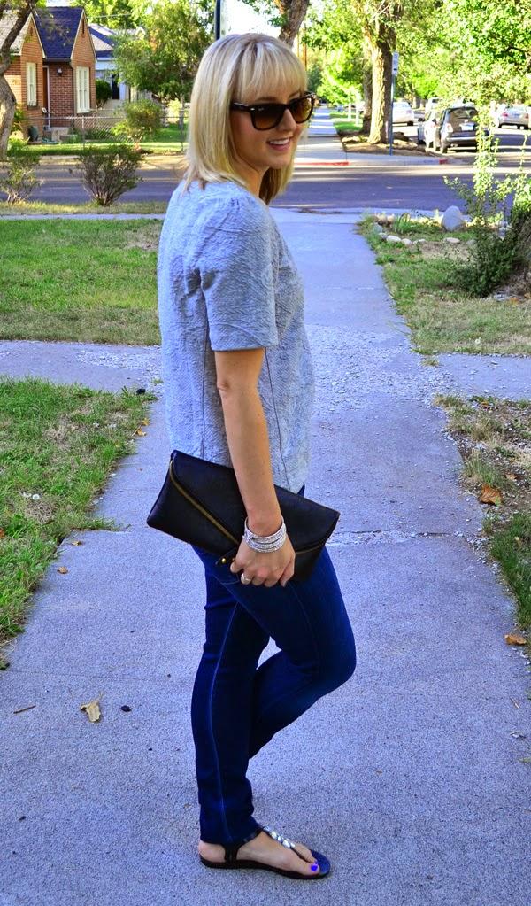 fashion blog style, grey shirt, textured shirt, skinny jeans, black clutch,