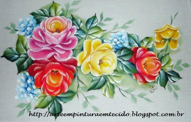 pintura em tecido flores rosas pano de prato