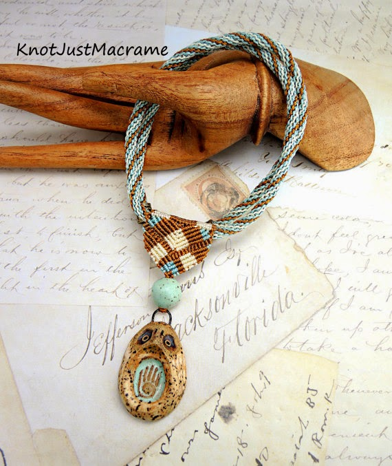 Micro macrame necklace from Knot Just Macrame with ceramic owl pendant by Karen Totten.