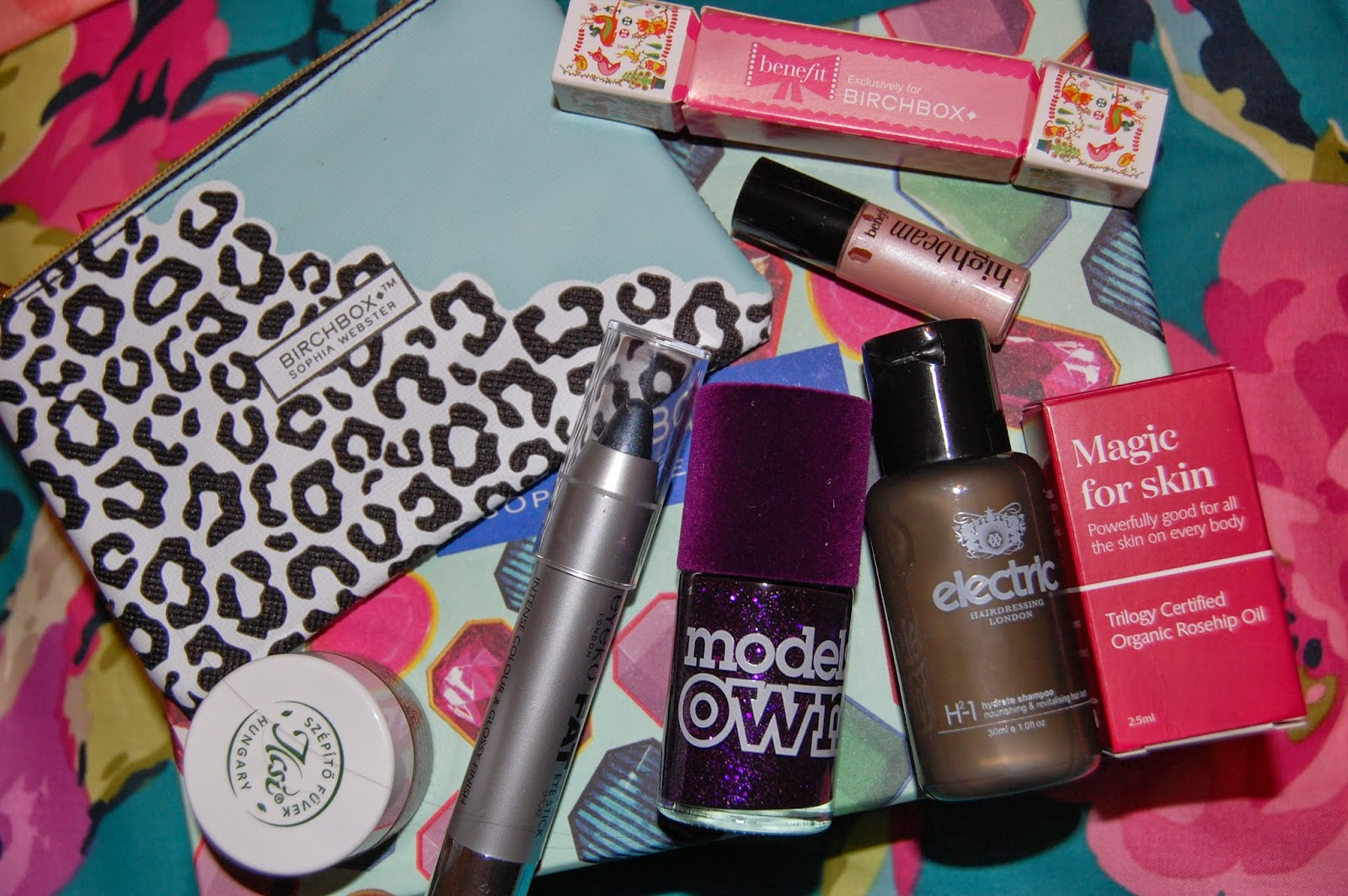 birchbox, nail varnish, models own, benefit, eyeko, trilogy, highlighter, make up, bbloggers, electric