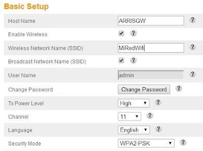 ajustes de wifi ssid y contraseña