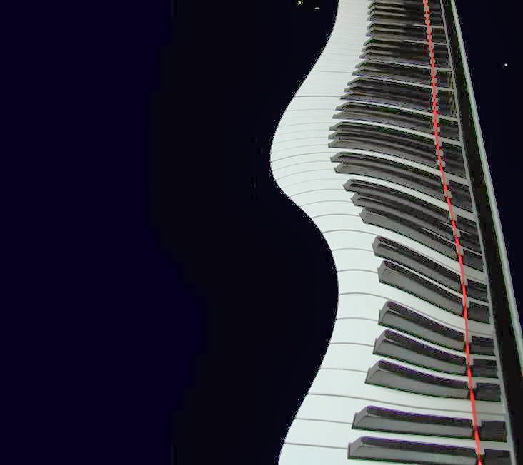 Piano with wavy keys