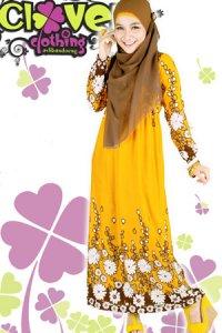 Clover Clothing Gamis Erika - Yellow  (Toko Jilbab dan Busana Muslimah Terbaru)