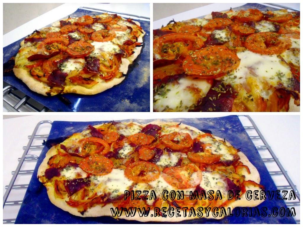 pizza con masa casera de cerveza
