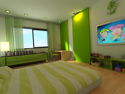 habitación niño verde