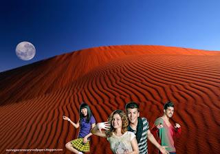 Wallpapers dos Morangos com Açucar Elenco de Jovens Actores a Dançar em fundo de tela Lua no Deserto Vermelho