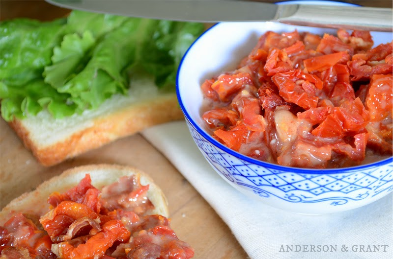 Sun-dried Tomato and Bacon Sandwich Spread....enjoy on sandwiches, baguettes or crackers! | www.andersonandgrant.com
