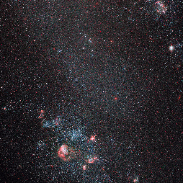 Dwarf Irregular Galaxy IC 2574 as imaged by Hubble