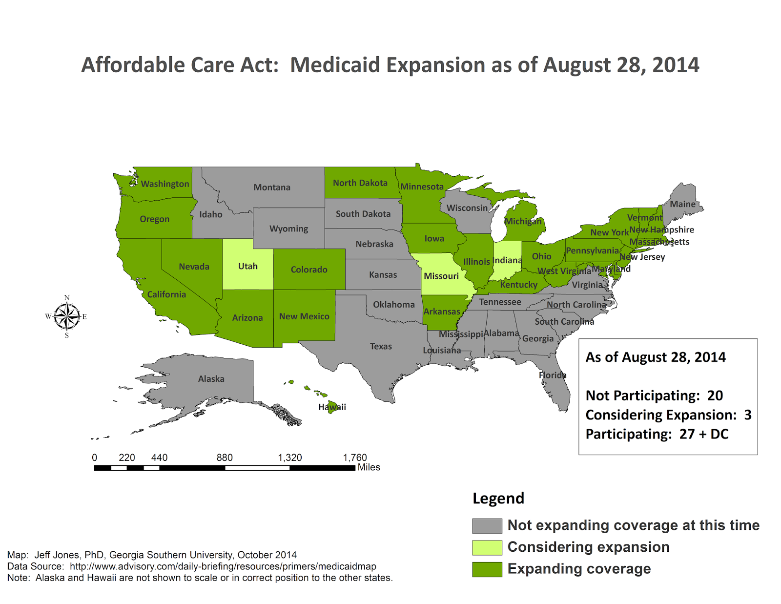 Middling America: Updated Medicaid Expansion Map on