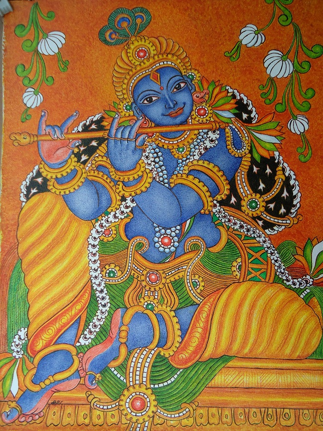My talent mural painting krishna for Mural radha krishna