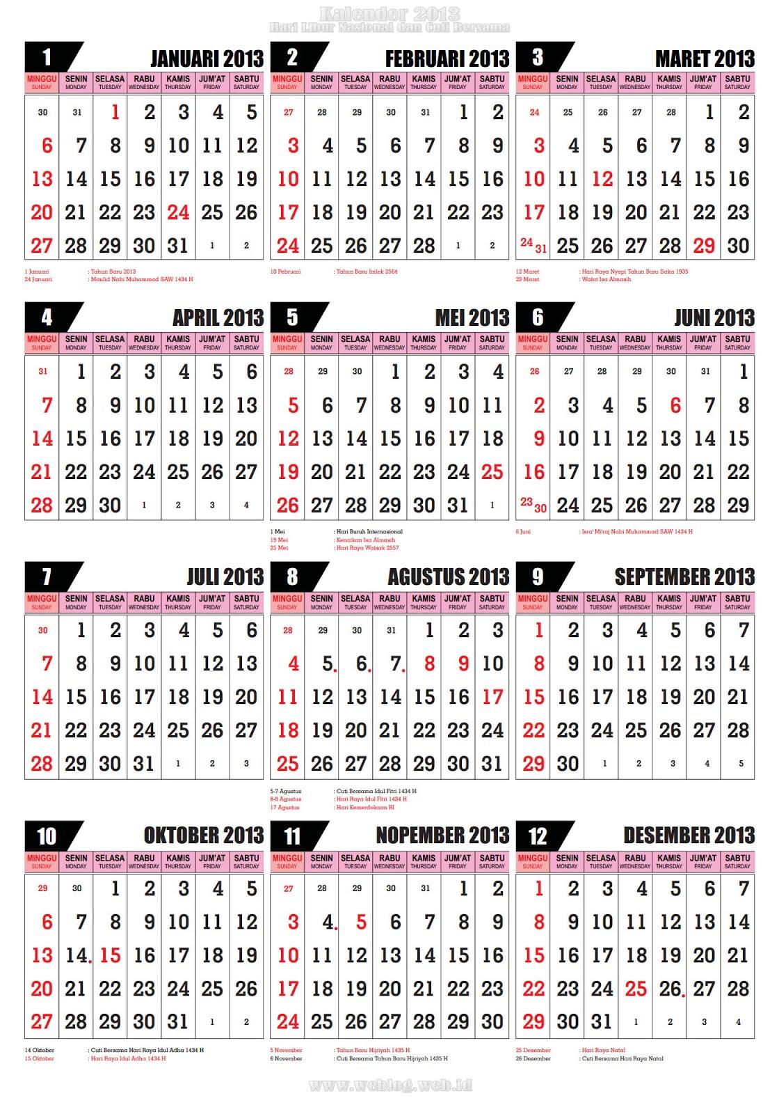 Kalender 2013 Hari Libur Nasional dan Cuti Bersama Tahun 2013