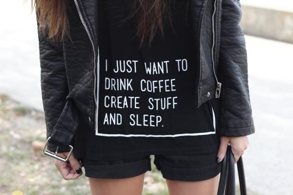 LEMA camiseta I just want to drink coffee create stuff and sleep t-shirt