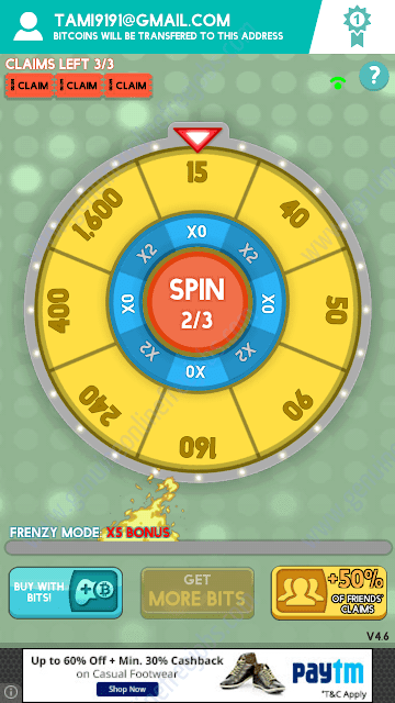 Wheel of bitcoins game play