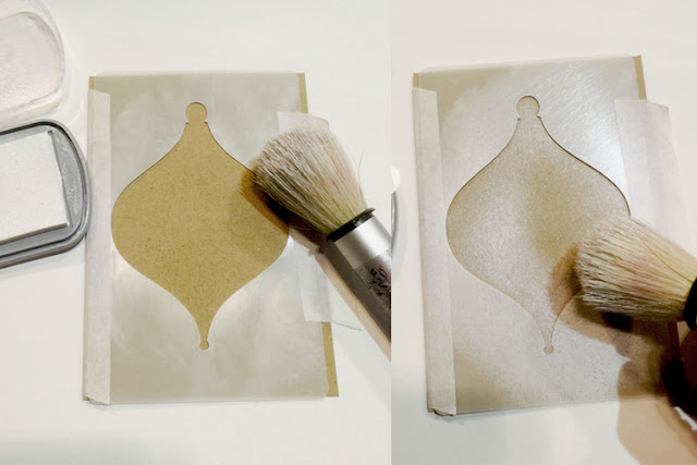 Inkylicious Winter Bauble - Faux Parchment - Step 1