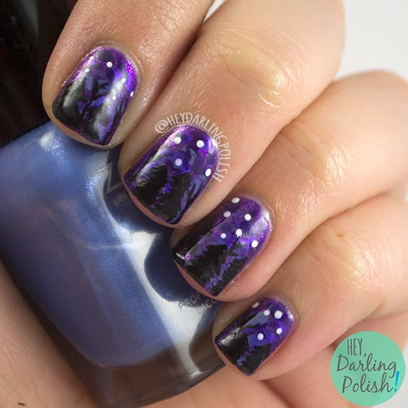 nails, nail art, nail polish, purple, trees, stars, hey darling polish, lacquer legion, llonholiday