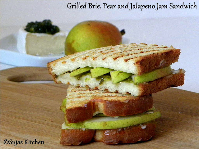 How to make a Grilled Brie, Pear and Jalapeno Jam Sandwich, Hot & sweet fruit sandwich,