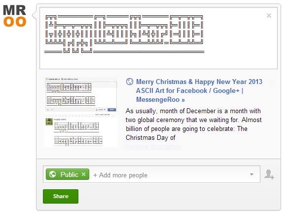 ASCII Arts Happy New Year 2013 Google Plus