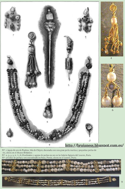 Collar de Susa (Persia) y pendientes y agujas de perlas y oro Egipcios. (Louvre) pearls