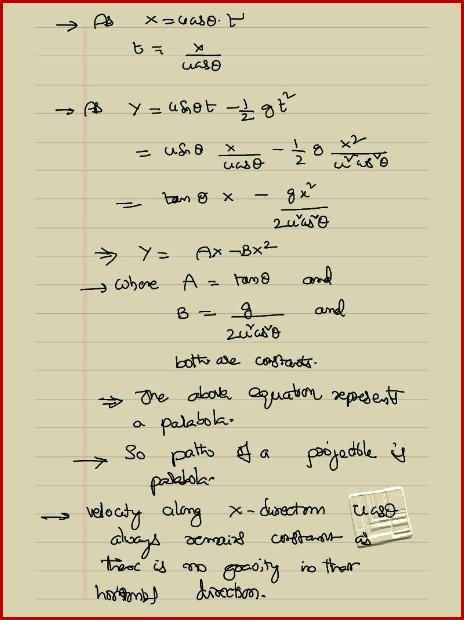 projectile motion formula sheet pdf