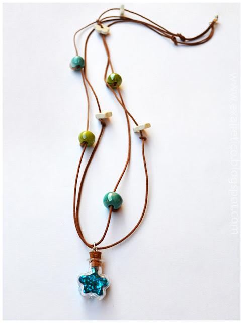 NECK.055 Κολιέ με Μαγικό μπουκαλάκι Καλής Τύχης Αστερίας Γαλάζιο