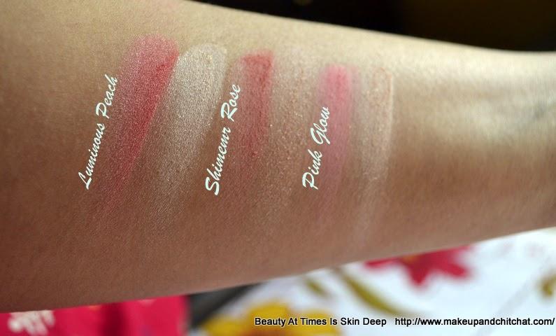 Oriflame Illuskin Blush Luminous Peach,Shimmer Rose, Pink Glow Swatches