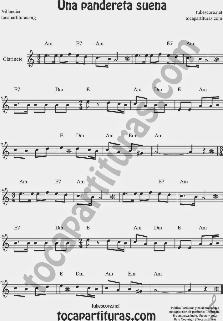 Una Pandereta Suena Partitura de Clarinete Sheet Music for Clarinet Music Score