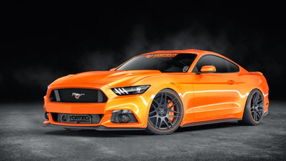 1,200-HP ON THE MENU IN TOP TUNE, MILDER VERSIONS ALSO AVAILABLE  Supercharger manufacturer Vortech is no stranger to SEMA, and a few weeks before crowds fill the exhibition halls at the Las Vegas Convention Center, the company has released a preview of its show car. As you can see, it's a very orange 2015 Ford Mustang, but it's what is under the hood that matters.  The company's SEMA show will car will feature a number of upgrades inside and out, but the star of Vortech's show will be the V-3 Si self-lubricated supercharger which will be mated to the 5.0-liter V8 engine. In stock form, Ford's mill will produce 435 hp and 400 lb-ft of torque, but in its mildest form the Vortech V-3 Si turbocharger will turn that up to 640 hp and 485 lb-ft of torque, with a boost pressure of merely 7.5 to 8.5 psi. The V-3 Si supercharger is a self-lubricated unit which incorporates its own oil reservoir, and features a dual gate mounting system for easy installation. The supercharger setup also incorporates an air-to-air intercooler for greater power.  Vortech's show car will be finished in competition orange and will also feature a 3D Carbon front lip spoiler, 20-inch Forgestar wheels, a Baer brake system, and Magnaflow exhaust. Vortech's Mustang will also be riding a little lower, courtesy of a coilover suspension setup.  Ford reveals four Focus ST concepts for SEMACAR NEWS Ford reveals four Focus ST concepts for SEMA Vortech will also showcase a number of further upgrades for the 2015 Ford Mustang, which will include an eight-rib supercharger drive assembly, a fuel pump voltage booster, and a competition air inlet assembly. With the above boxes checked, the tuner kit will yield 775 hp, while an upgrade to the V-7 JT supercharger or the V-7 YSi supercharger will produce from 1,000 hp to 1,200 hp.