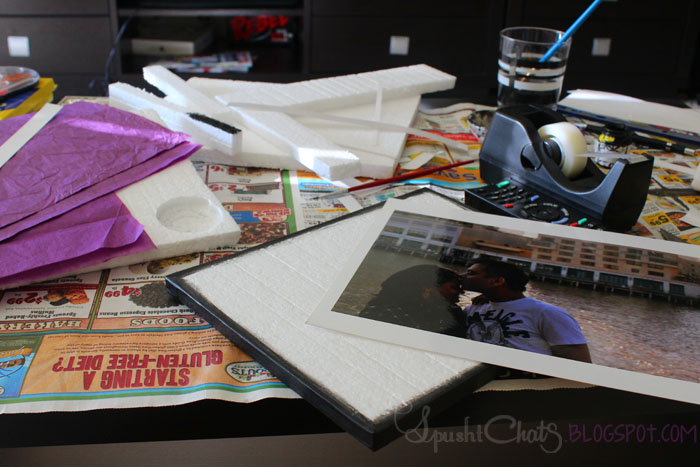 SpushtChats | Thrifty idea for photo canvas using Styrofoam