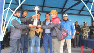 UKFC Kurseong team with the winners trophy in Kurseong on Sunday.