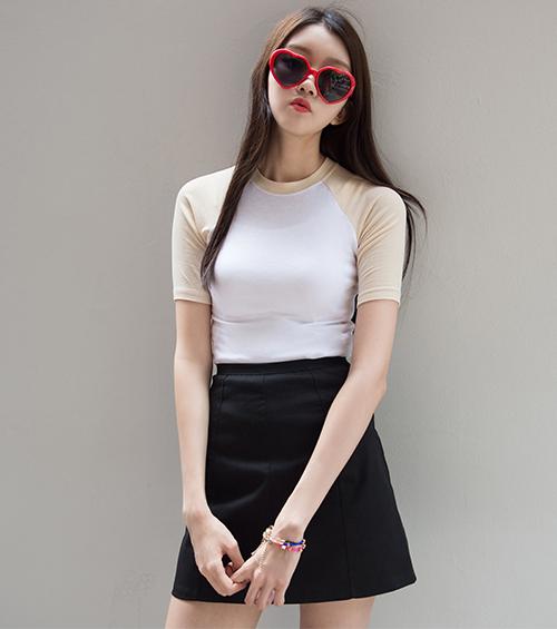 Zip-Up Back A-Line Mini Skirt