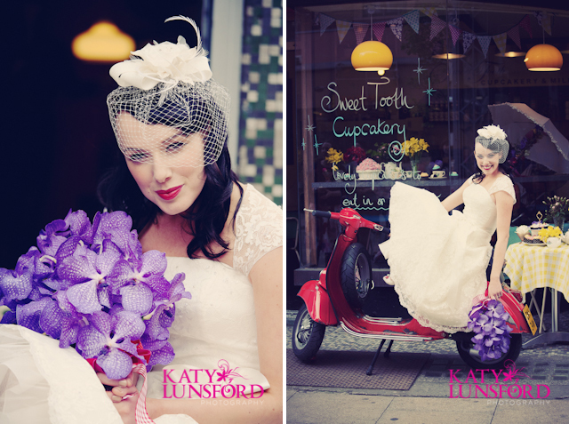 a birdcage veil and a bright red vintage vespa Did you see Part 1
