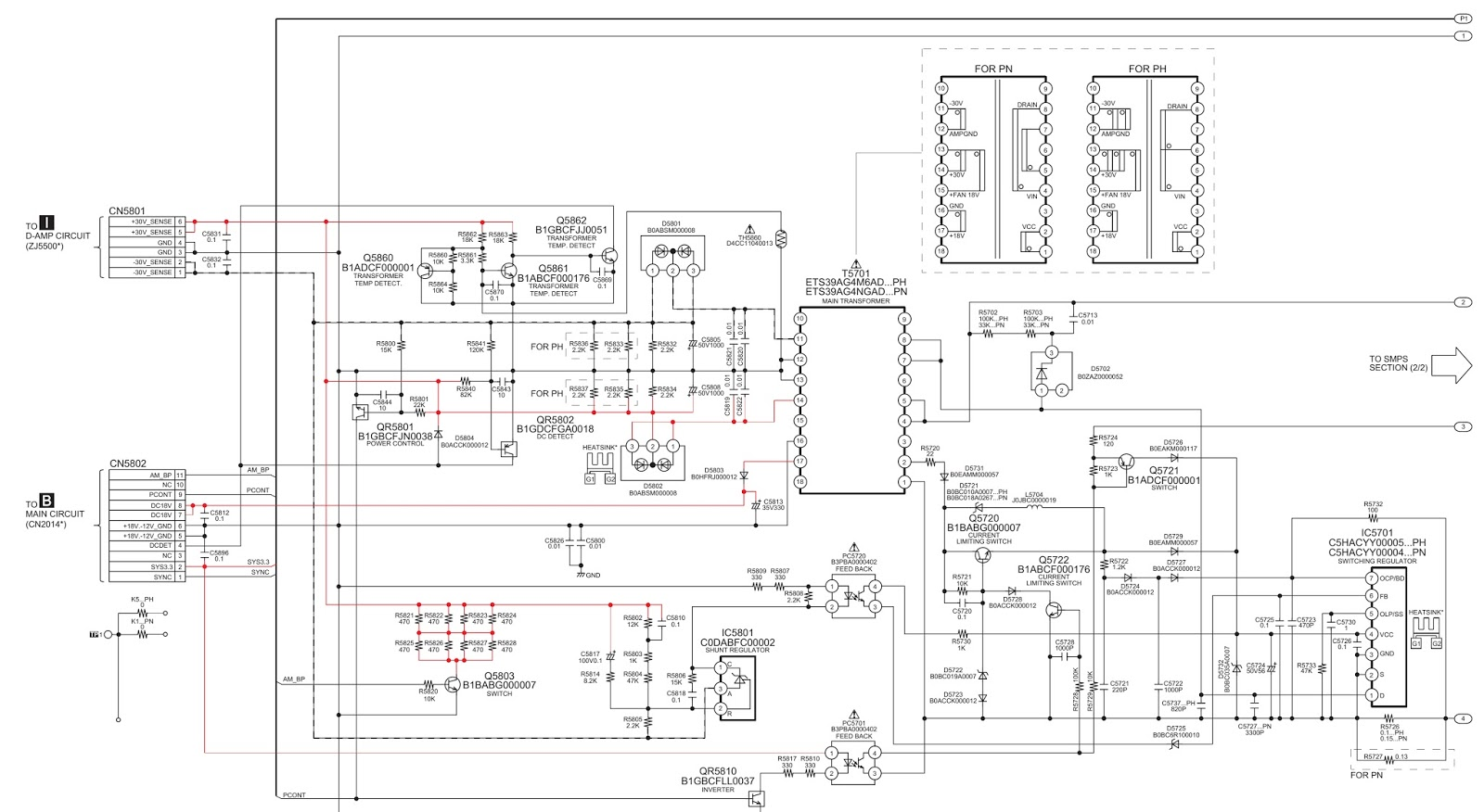 panasonic sc akx50lb cd stereo system power amp power smps schematic circuit