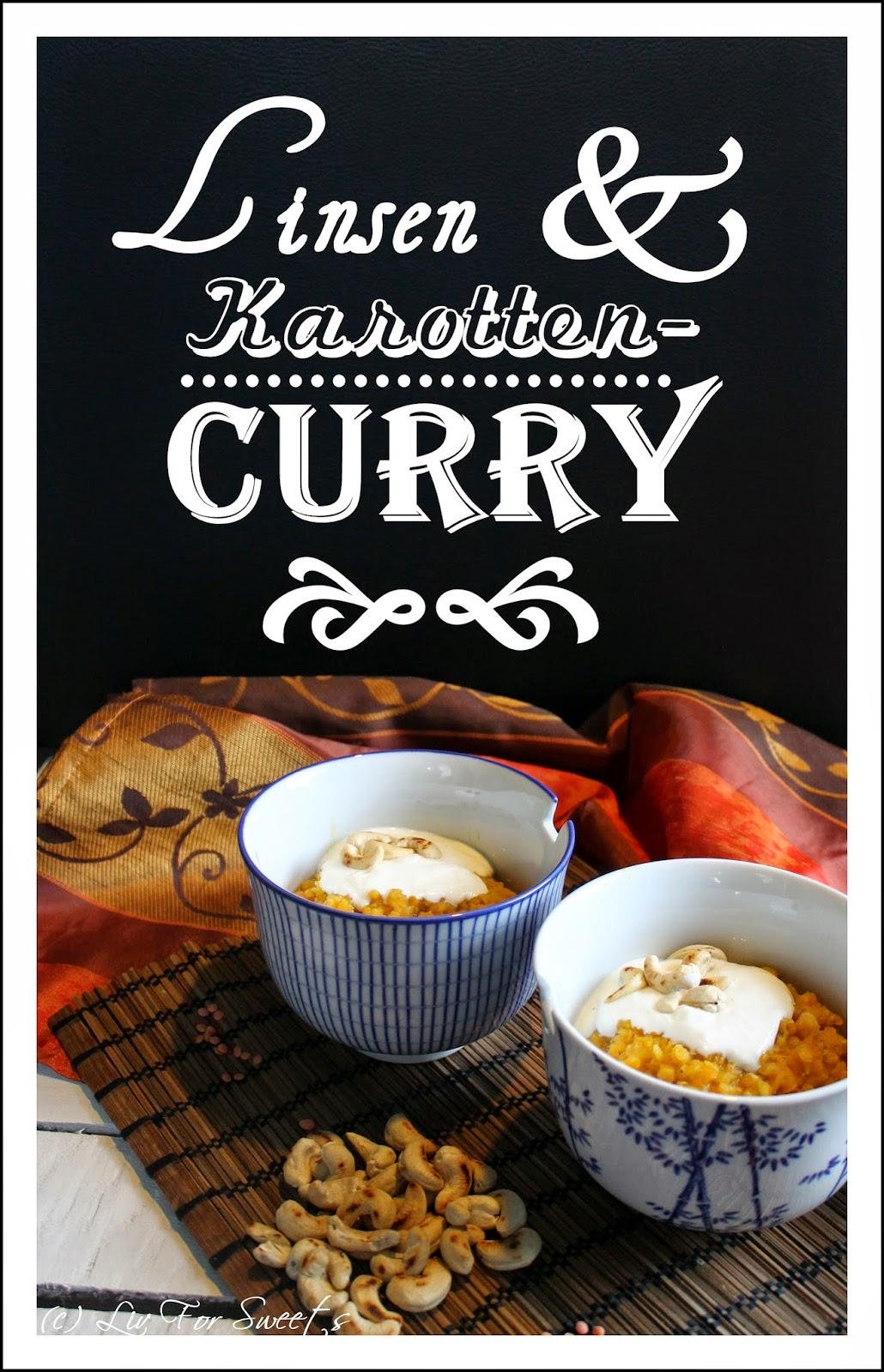 Ein Curry mit roten Linsen, Karotten und Cashewkernen mit saurer Sahne und Naan-Brot