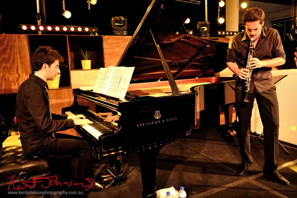 In performance, Andreas Ottensamer clarinete accomanied by pianist Alex Rainer plays 'Yellow Lounge' Street Fashion Sydney