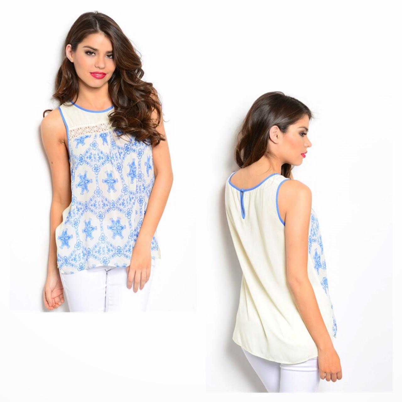 Blue & Cream Sleeveless Top