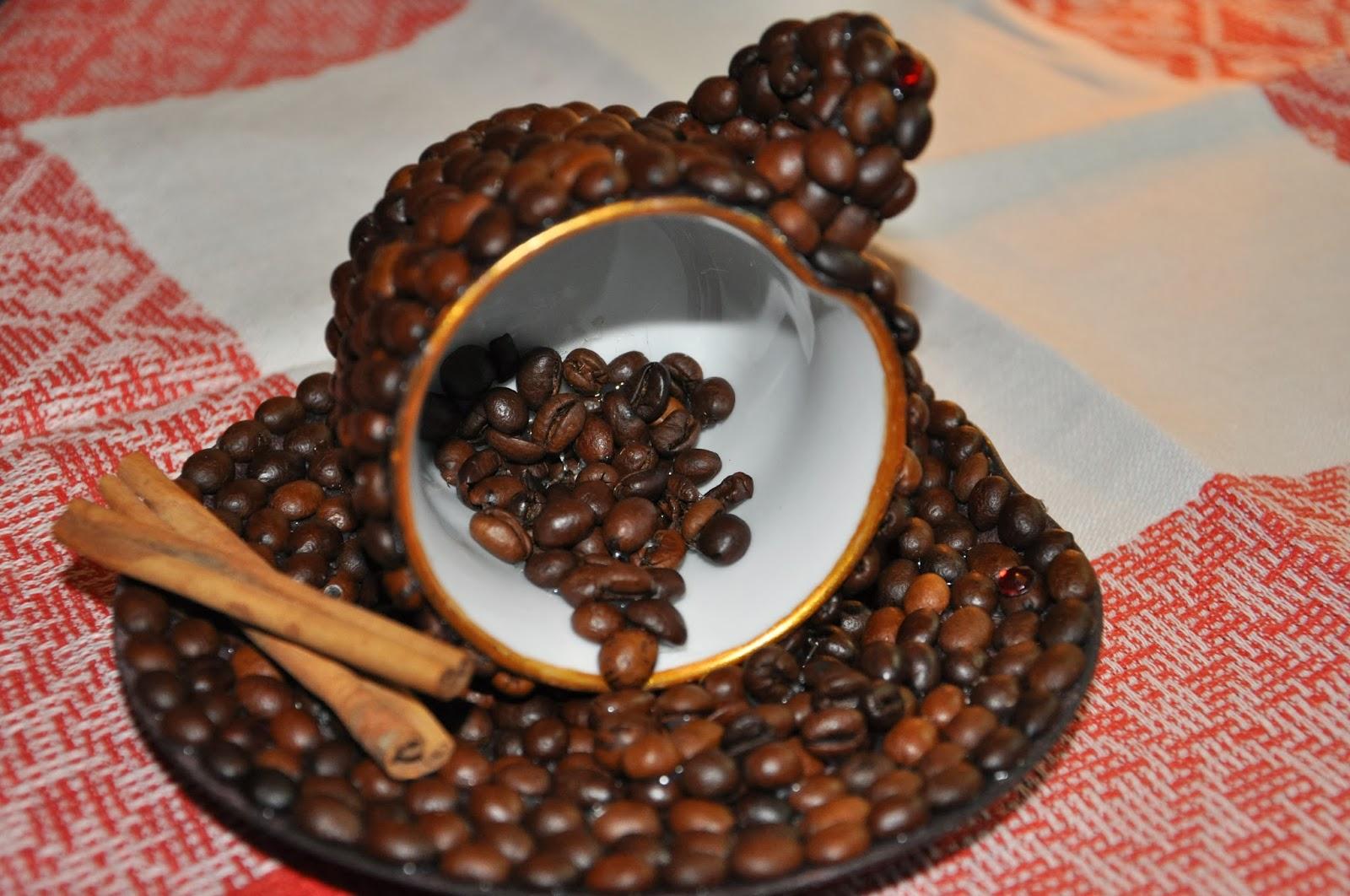 Кофейная кружка из кофейных зерен своими руками