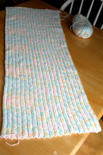 white and pastel baby colors Car Seat blanket with 40 rows complete