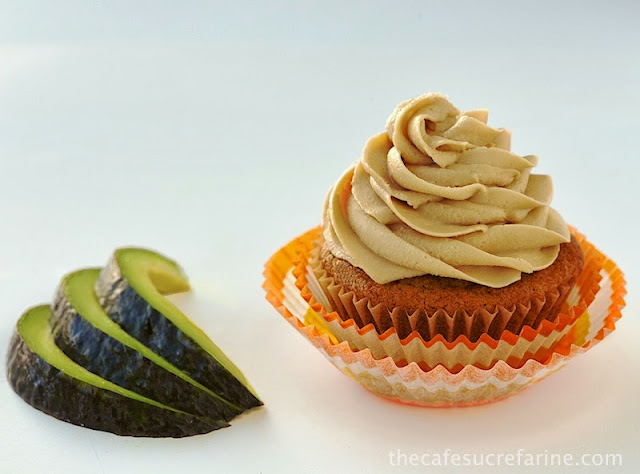 California Avocado Pumpkin Cupcakes w/ Avocado Caramel Buttercream How fun are these? They're also amazingly delicious and on the healthy side with avocados replacing some of the unhealthy fat in both the cupcakes and the icing!