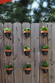 Someday crafts pots on a fence - Flower pots to hang on fence ...