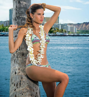 Brazilian model, Raica Oliveira for Bluebeach swimwear photoshoot